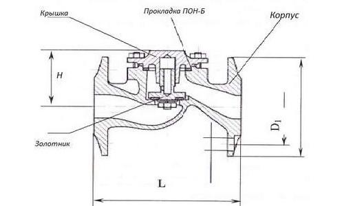 Схема устройства обратного клапана