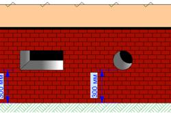 Схема расположения продухов вентиляции