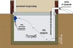 Схема приточно-вытяжной вентиляции погреба