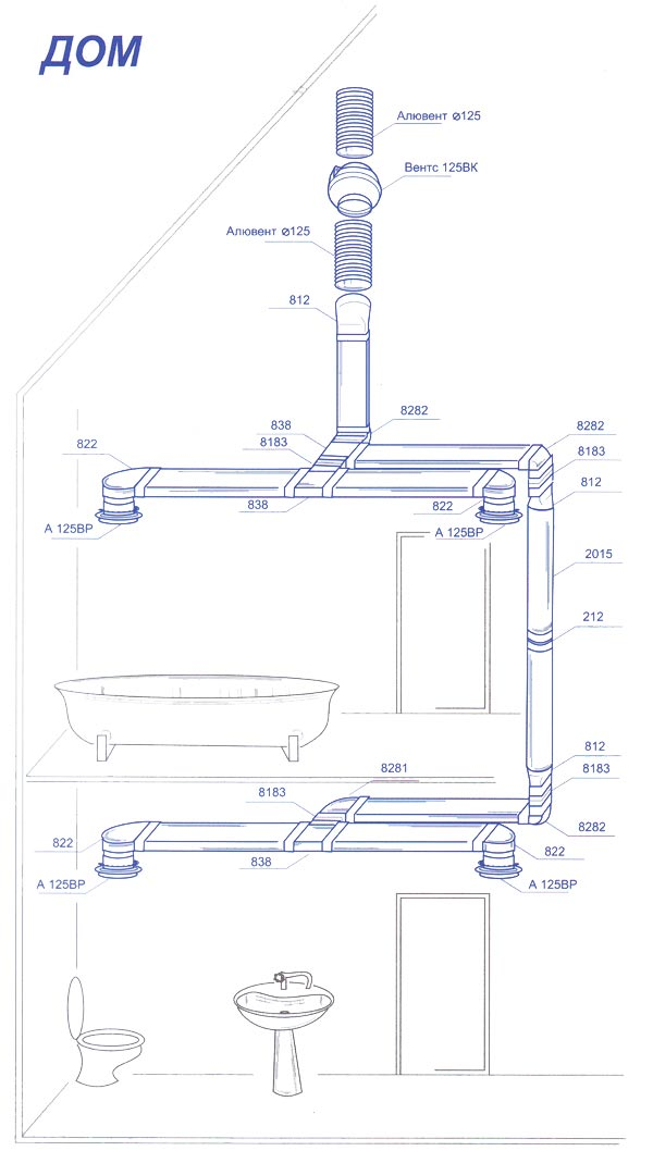 Схема монтажа ПВХ-воздуховода