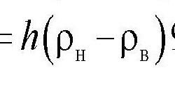 Формула для расчета гравитационного напора