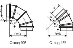 Чертеж круглой врезки с разным углом отвода